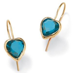 Heart-Shaped Birthstone Earrings