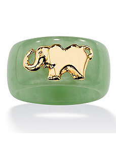 Green Jade Elephant Band by PalmBeach Jewelry