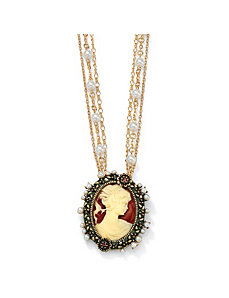 Antiqued Cameo Pendant-Necklace by PalmBeach Jewelry