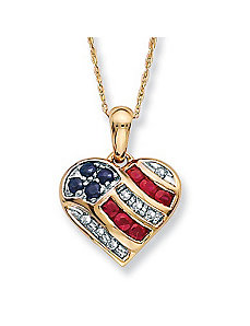 Heart-Shaped Patriotic Pendant by PalmBeach Jewelry