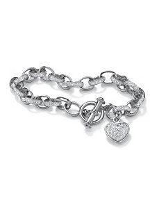 Diamond Accent Heart Charm Bracelet by PalmBeach Jewelry