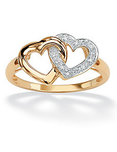 Diamond Accent Interlock Heart Ring by PalmBeach Jewelry