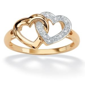 Diamond Accent Interlock Heart Ring