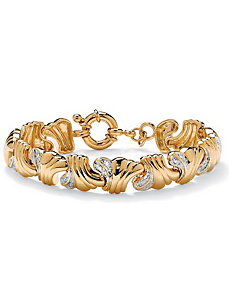 Diamond Wave-Link Bracelet by PalmBeach Jewelry