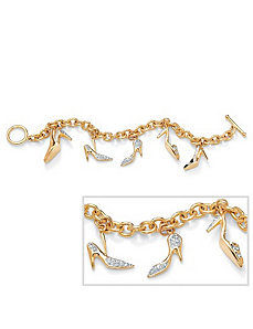 Crystal High Heel Charm Bracelet by PalmBeach Jewelry