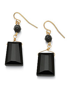 Faceted Onyx Drop Pierced Earrings by PalmBeach Jewelry
