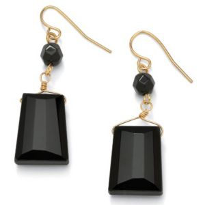 Faceted Onyx Drop Pierced Earrings