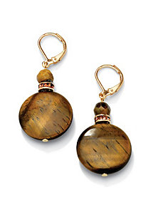Tigers-Eye & Crystal Earrings by PalmBeach Jewelry