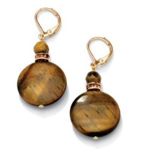Tigers-Eye & Crystal Earrings