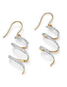 Diamond Accent Ribbon Drop Earrings by PalmBeach Jewelry