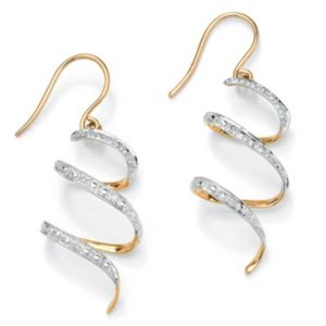 Diamond Accent Ribbon Drop Earrings