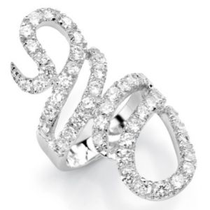 Cubic Zirconia Crossover Ring
