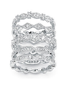 Cubic Zirconia Stackable Ring Set by PalmBeach Jewelry