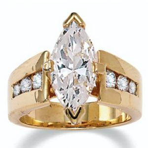 Marquise-Cut and Roundcubic zirconia Ring