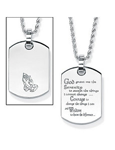 "Serenity Prayer""Dog Tag Pendant by PalmBeach Jewelry"