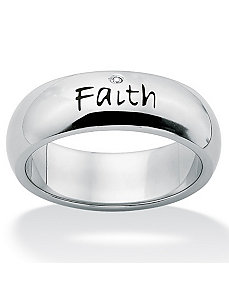 "Cubic Zirconia""Faith""Band by PalmBeach Jewelry"