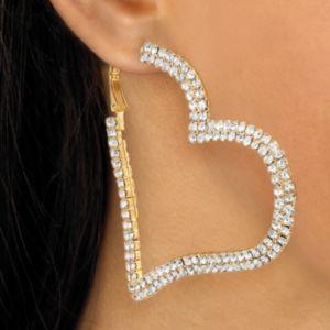 Multi-Crystal Heart Hoop Earrings