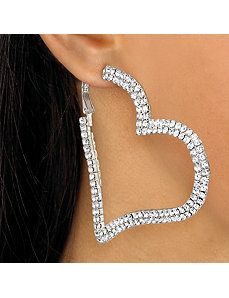 Multi-Crystal Heart Hoop Earrings by PalmBeach Jewelry