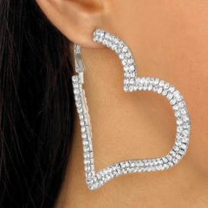 Multi-Crystal Heart Hoop Earrings