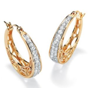 Cubic Zirconia Filigree Hoop Pierced Earrings
