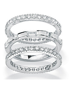 Set of Threecubic zirconia Eternity Bands by PalmBeach Jewelry