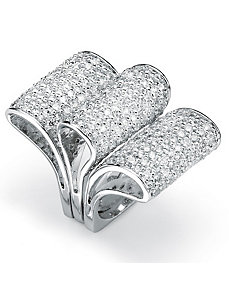 Set of Threecubic zirconia Ribbon Rings by PalmBeach Jewelry