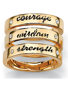 Set of Three Message Rings by PalmBeach Jewelry