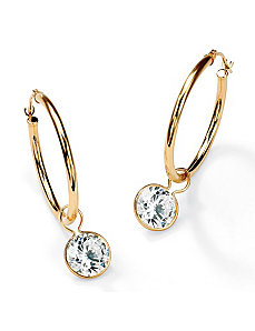 Roundcubic zirconia Hoop Earrings by PalmBeach Jewelry