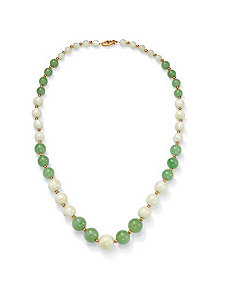 Green Jade/Mother-of-Pearl Necklace by PalmBeach Jewelry