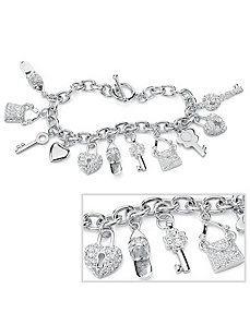 Shoe, Purse & Heart Charm Bracelet by PalmBeach Jewelry