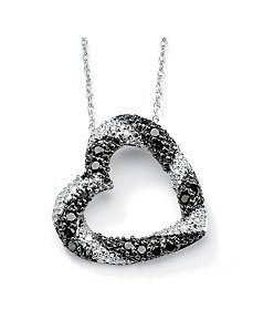 Black & White Diamond Heart Pendant by PalmBeach Jewelry