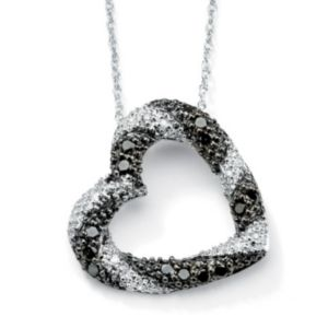 Black & White Diamond Heart Pendant