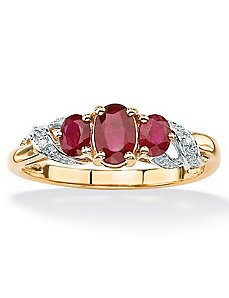 Ruby and Diamond Accent Ring by PalmBeach Jewelry
