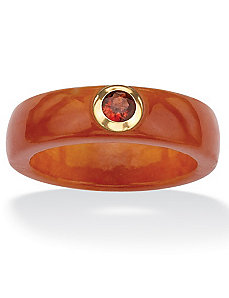 Red Jade and Garnet Ring by PalmBeach Jewelry
