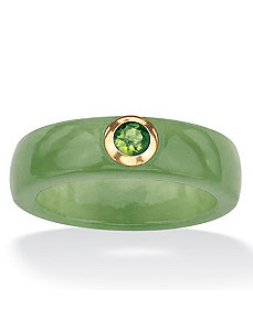 Green Jade and Peridot Ring by PalmBeach Jewelry