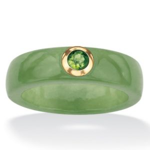 Green Jade and Peridot Ring