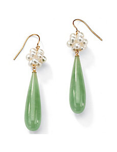 Jade/Pearl Pierced Earrings by PalmBeach Jewelry