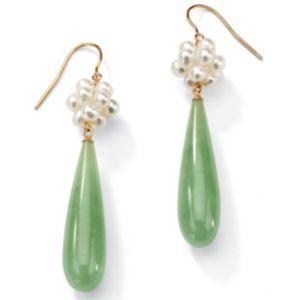 Jade/Pearl Pierced Earrings