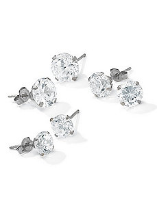 Set of Three Pairscubic zirconia Earrings by PalmBeach Jewelry