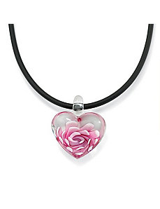 Pink Glass Heart-Shaped Pendant by PalmBeach Jewelry