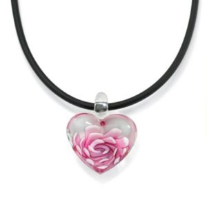Pink Glass Heart-Shaped Pendant