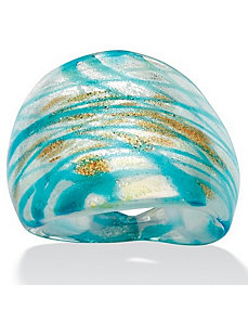 Blue/Gold-Colored Glass Ring by PalmBeach Jewelry