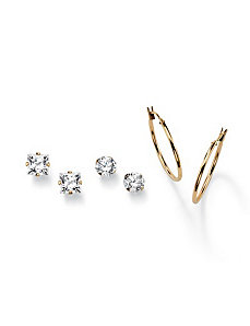 Three-Pair Set of Pierced Earrings by PalmBeach Jewelry