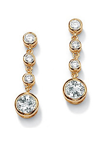 Bezel-Setcubic zirconia Drop Pierced Earrings by PalmBeach Jewelry