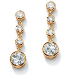 Bezel-Setcubic zirconia Drop Pierced Earrings