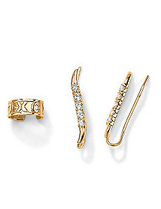 Cubic Zirconia Ear Pins/Cuff Set by PalmBeach Jewelry