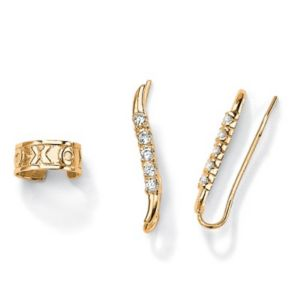 Cubic Zirconia Ear Pins/Cuff Set