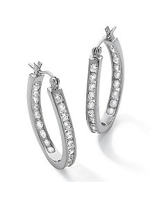 Cubic Zirconia Hoop Earrings by PalmBeach Jewelry