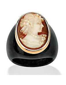 Onyx Jade Cameo Ring by PalmBeach Jewelry
