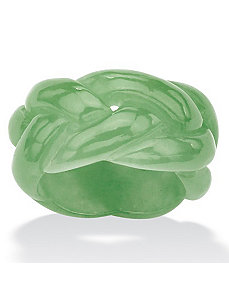 Green Jade Braided Eternity Band by PalmBeach Jewelry